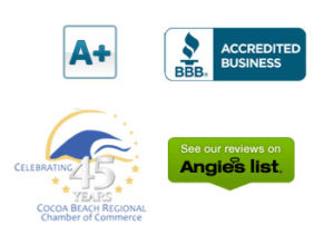 Badges of BBB, Cocoa Beach Chamber and Angies List